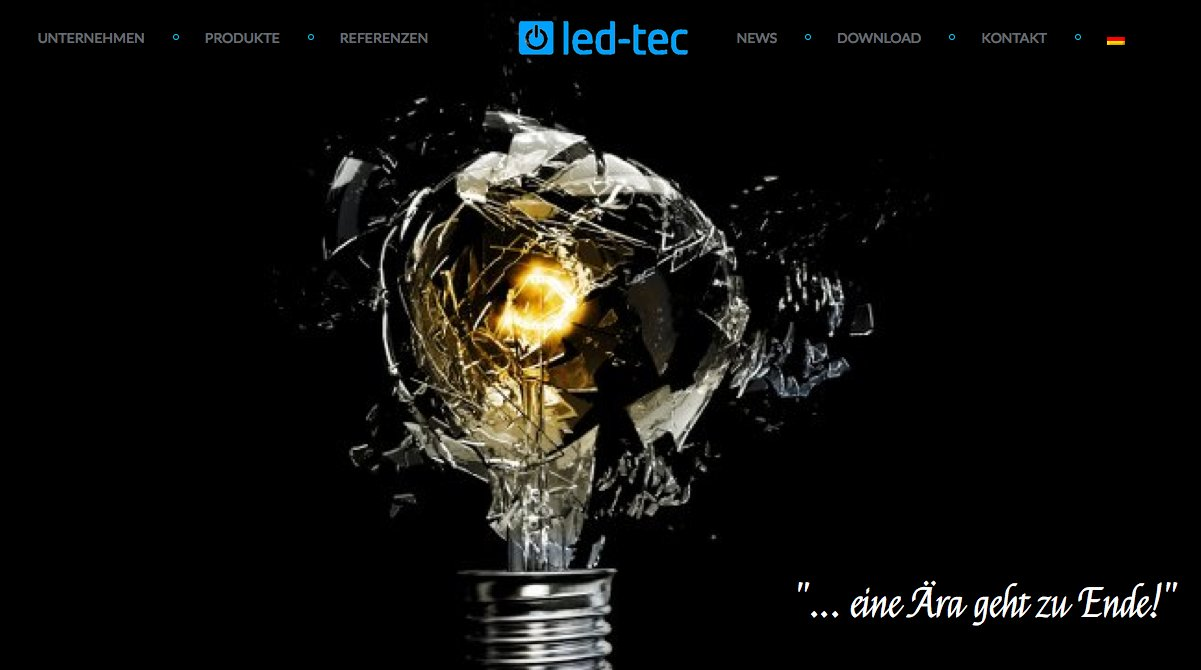 led-tec Homepage deutsche Version